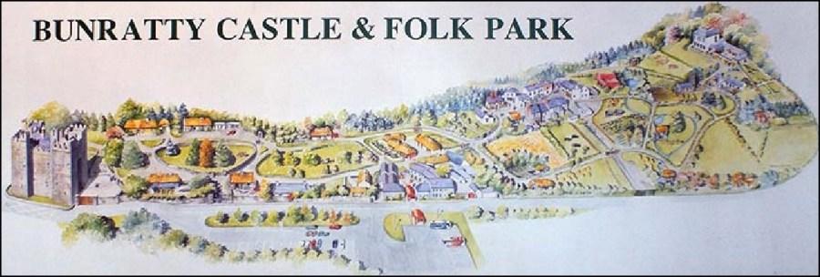 Le plan du château et du parc de Bunratty - Comté de Clare (Irlande)