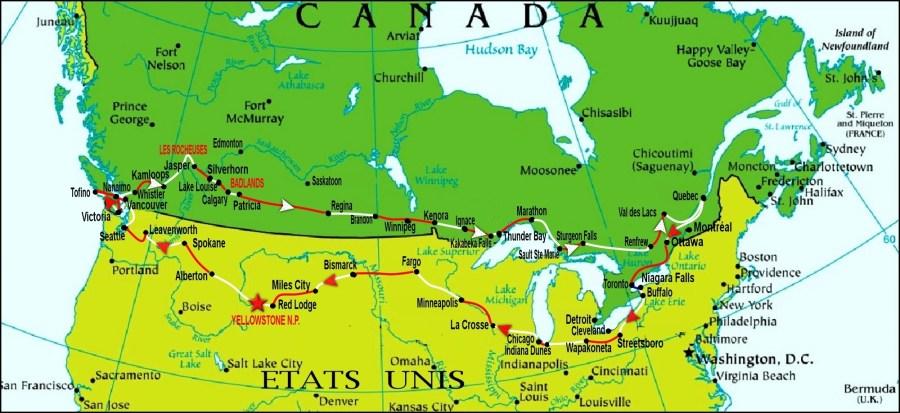 Notre circuit au Canada et USA