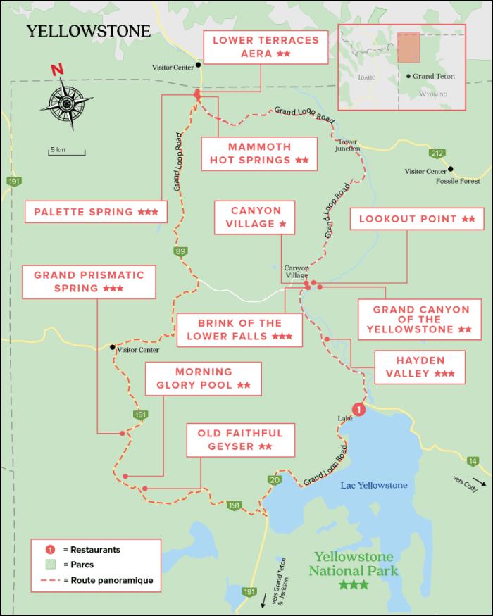 Carte du Parc National de Yellowstone - Wyoming (USA)
