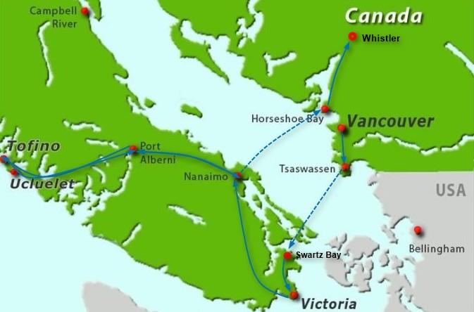 carte de Vancouver et île