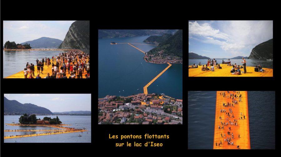 Les pontons flottants sur le lac d'Iseo (Italie)