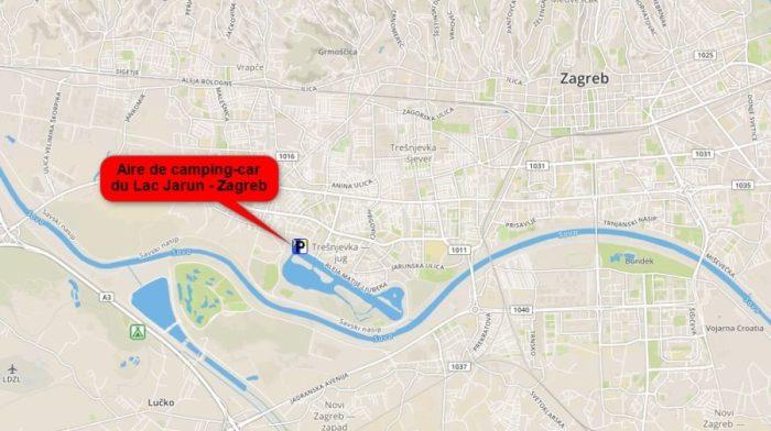 Plan de l'aire de camping-car du lac Jarun - Zagreb (Croatie)