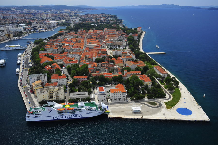 Vue aérienne du centre historique de Zadar