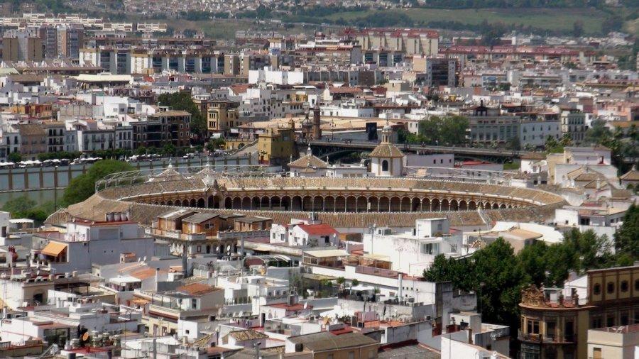 Vue sur la ville et les arènes depuis la tour de la Giralda