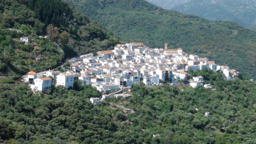 Le village blanc d'Algatocin depuis le mirador del Genal