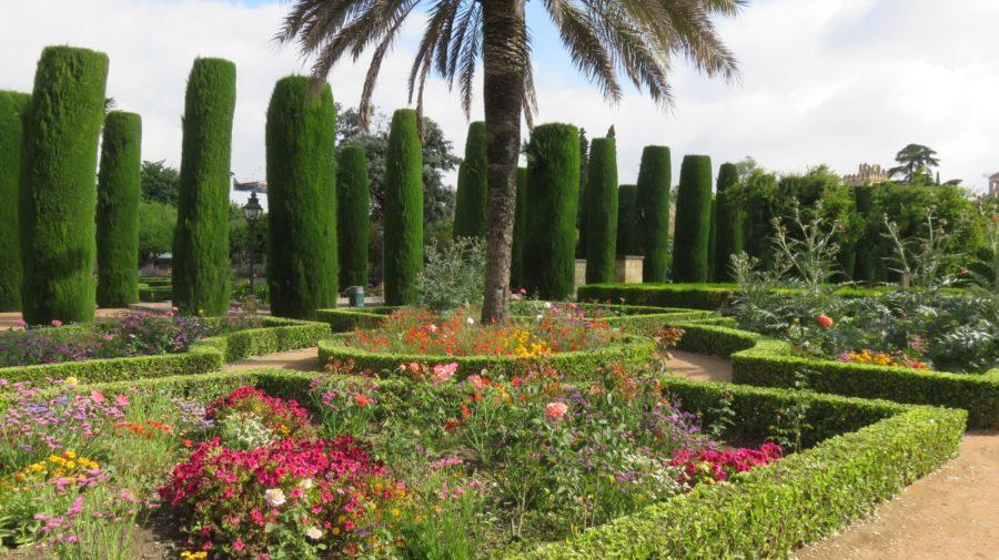 Les fleurs et cyprès des jardins de l'Alcazar des rois catholiques de Cordoue