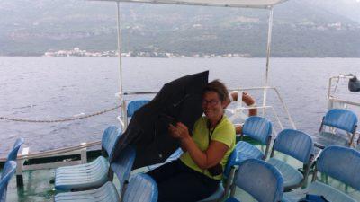 Il pleut sur le bateau pour Korcula - Croatie