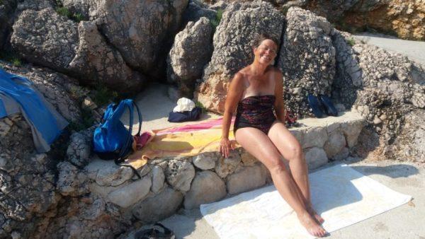 Baignade sur la plage du camping d'Orasac - Croatie