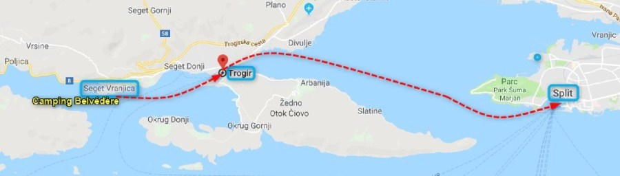 carte Bateau taxi Seget Vranjica - Trogir - Split