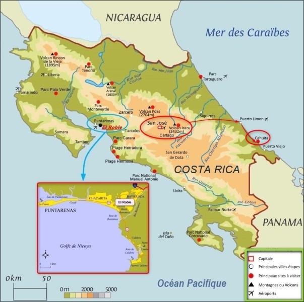 Carte de Cartago - le volcan Irazu - le parc de Cahuita (Costa Rica)