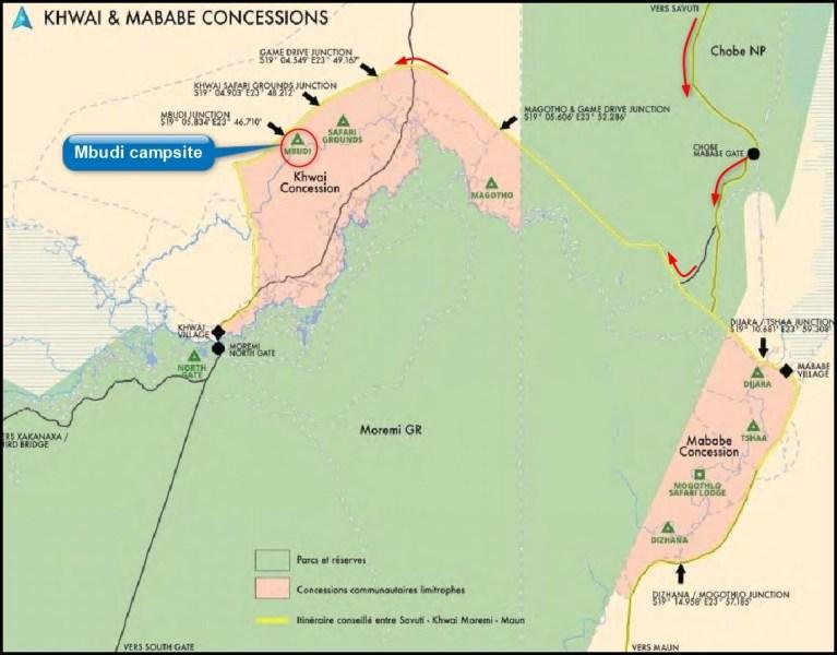 Carte de Khwai et Mababe concessions - Botswana