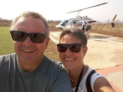 Ravis de notre vol en hélicoptère sur les Victoria Falls - Zimbabwe