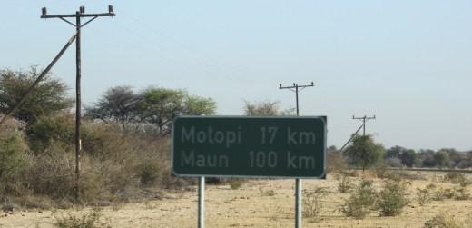 Direction Motopi depuis Khumaga - Botswana
