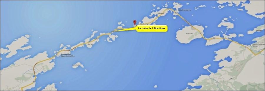 La carte de la route de l'Atlantique - Norvège.