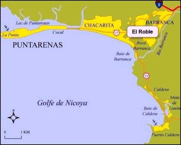 Carte de Puntarenas - Costa Rica
