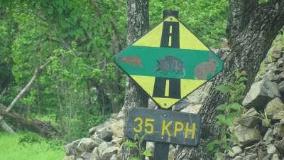 Panneau sur la piste d'accès au parc de Palo Verde - Costa Rica