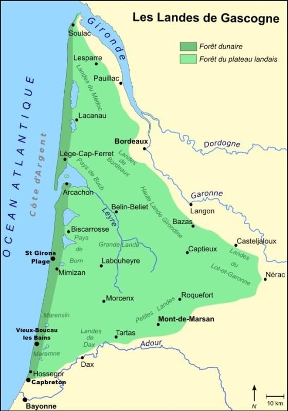 Carte des Landes - La Vélodyssée