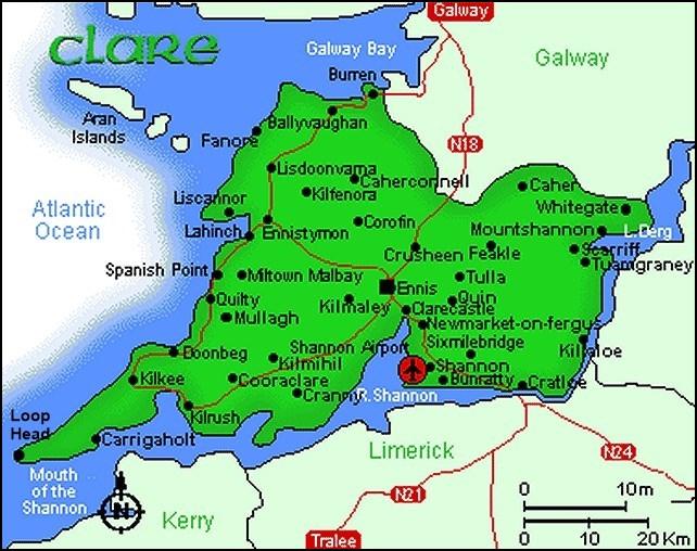 Carte du comté de Clare - Irlande