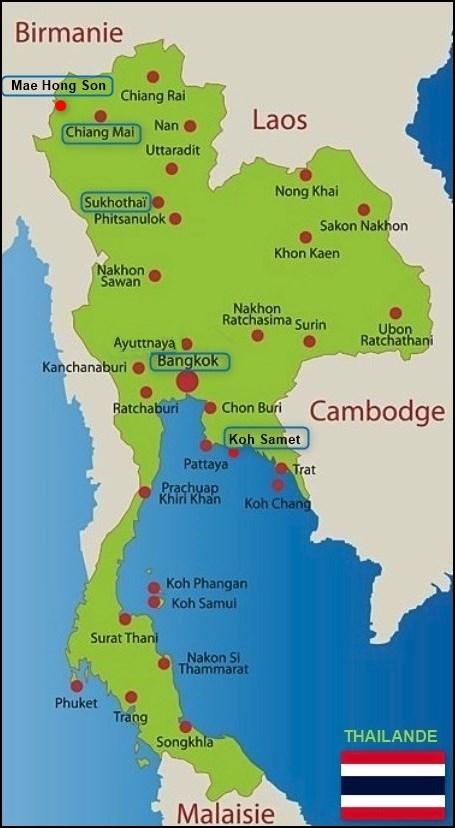 Carte de la Thaïlande