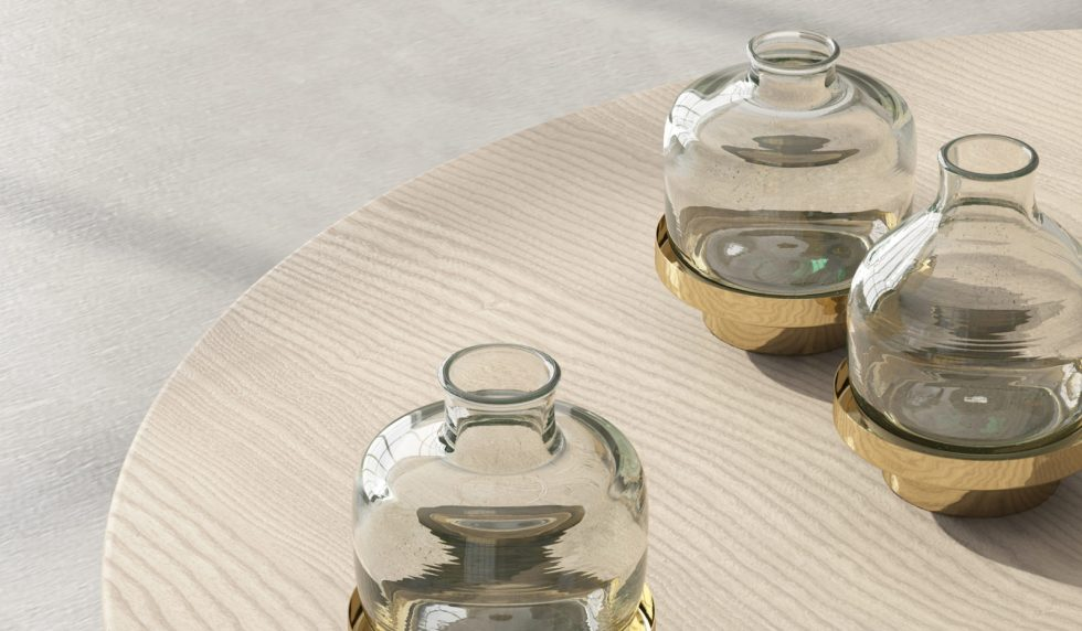 Make your table special with a set of flower Cupallo vases brass by Studio David Pompa