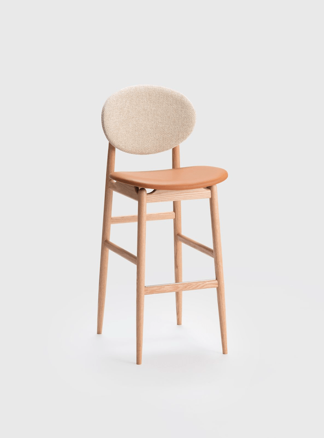 oak outline barstool leather and fabric