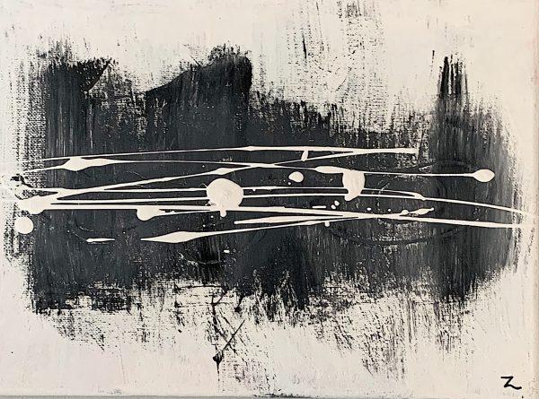 Toile abstraite (blanche et noire)