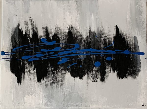 Toile abstraite (grise et bleu royal)