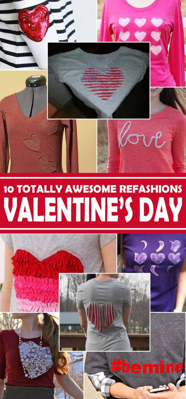 An awesome list of 10 clothing refashions for Valentine's Day, featuring very cool clothes to wear for the day of love - or any time of the year! All have step-by-step tutorials. Use up those fabric scraps. Explore the web site for more refashioning, sewing, tutorials with good, clear photos and instructions. http://letgoofbeingperfect.com