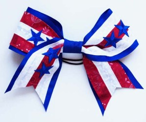 DIY Cheer Bow Blue and White Stripes for July Fourth