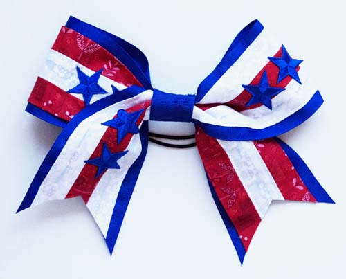 DIY Cheer Bow Blue and White Stripes for July Fourth - Step-by-step NO-SEW (and sewing) tutorial. Make your own, customizable cheer bows for the entire team for about $10. A great, low-cost accessory for your own cheerleader, either for a special occasion or for your duaghter to be unique. Explore the web site for more refashioning, sewing, and crafting tutorials, each with clear photos and instructions. http://letgoofbeingperfect.com