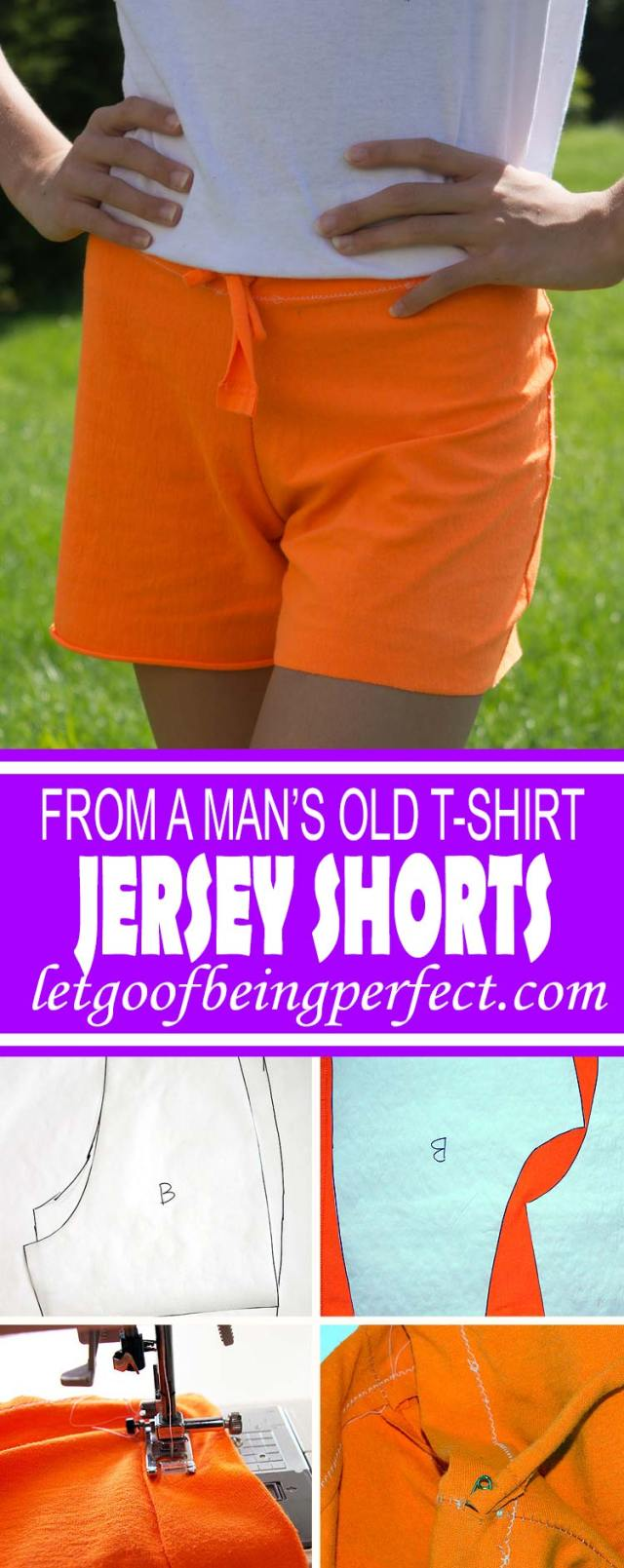 DIY Refashion Jersey Shorts from a Man's T-Shirt - Refashion / upcycle a man's #tshirt into a pair of workout or lounge shorts, with no pattern needed. Step-by-step DIY sewing tutorial for upcycling clothes into a a custom pair of shorts. Remake, redo, reuse, and recycle to help save money and save the planet. Explore the web site for more refashioning tutorials, dozens of cute refashionista and fashion ideas with good, clear photos and instructions. http://letgoofbeingperfect.com