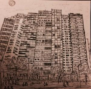 Essa é a Praça Roosevelt. Desenhei pra me acalmar com a ideia da publicação.  Foi meu primeiro conto lido em público, pelo Ivam Cabral, antes da praça ser o que ela é hoje, mas ali mesmo, nos Satyros, lá pelos idos presentes do iníCio desse milênio.
