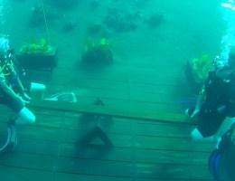 Houpačka pod vodou bali indonésie amed