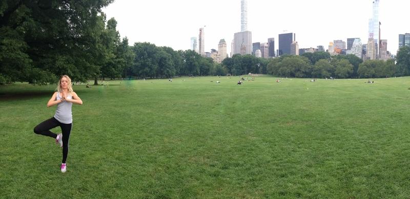 Já v Central Parku, panorama foto s mrakodrapy