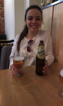 A Brazilian beauty with a Bulgarian beer