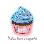 Relax, have a cup cake was drawn digitally by Letitia Pfinder