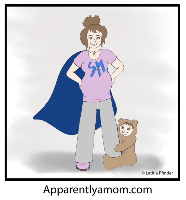 Super Mom Illustration for apparentlyamom.com by Letitia Pfinder
