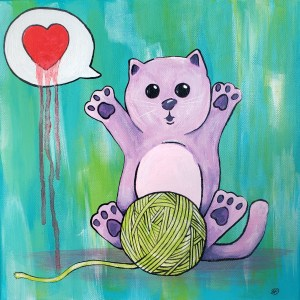 "Picture of ""Love, Kitty"" Acrylic Painting on Canvas"