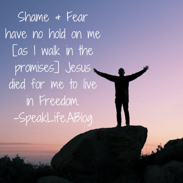 Shame & Fear have no hold on me when I walk in the freedom Jesus died to give me-SpeakLife.ABlog