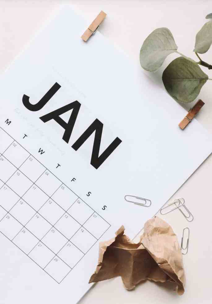 A calendar shows the month of January, symbolizing planning to make sure your relationship goals happen