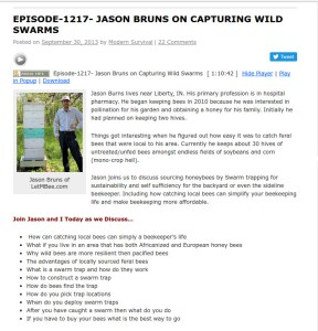 Swarm Trapping on the Survival Podcast – air date 9/31/2013