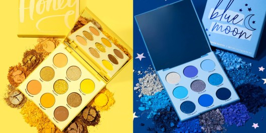 "colourpop ""uh-huh honey"" palette & ""blue moon"" palette, yellow eyeshadow, blue eyeshadow, beauty, cosmetics, must haves,, so pretty, makeupbyade, miami makeup artist , pro makeup, miami makeup,"