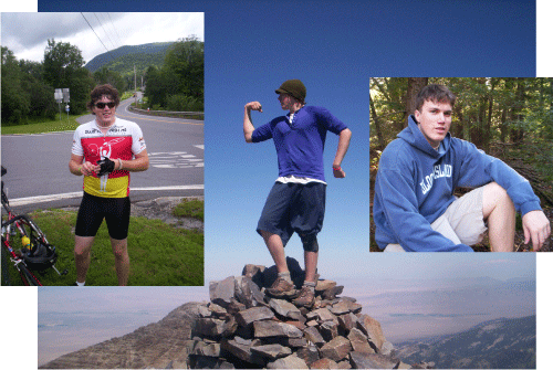 Alec, now, still being a little boy at heart! Photo at left is from his Bike MS, 2008