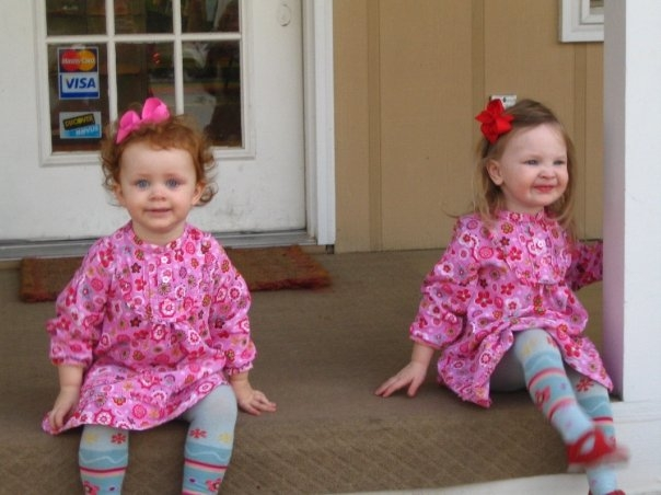 Anna Beth and Kaylie wearing le●top Flower Power courduroy print dresses from Fall 2008