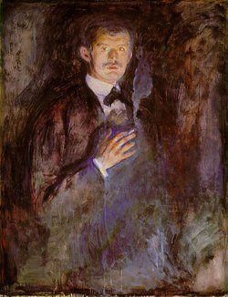 """""""Autorretrato con cigarro"""", de Edvard Munch"""