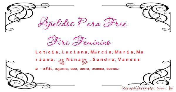 Apelidos Para Free Fire Feminino