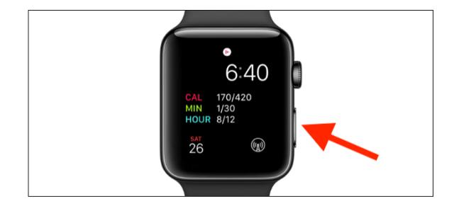Pressione e segure o botão Lateral no Apple Watch até ver o menu Energia.