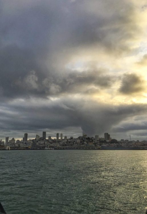 The city of San Francisco from the boat on the way to Alcatraz