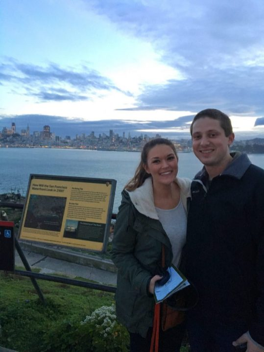 Lauryn and Eric outside Alcatraz prison