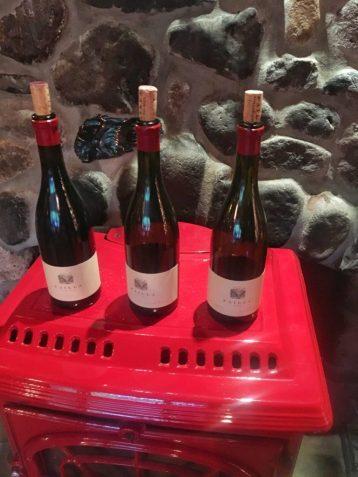 Failla wine bottles on display